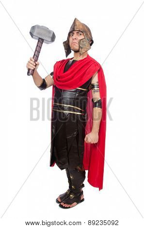 Gladiator with hammer isolated on white