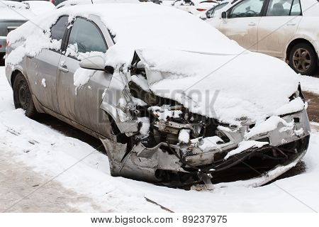 Car crash on winter road