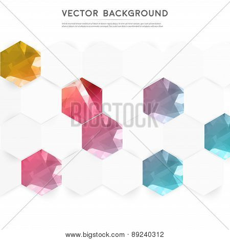 Vector abstract color 3d hexagonal.