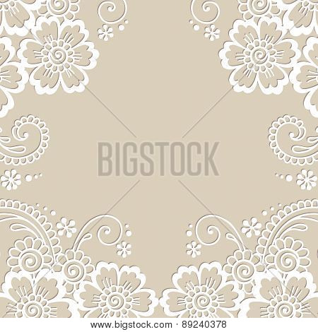 Flower vector ornament frame. White flower frame, lace ornament.