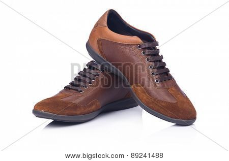 Brown shoes isolated on the white
