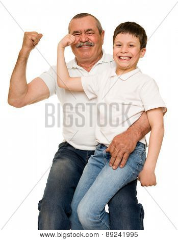 Grandfather and grandchildren show muscle hands