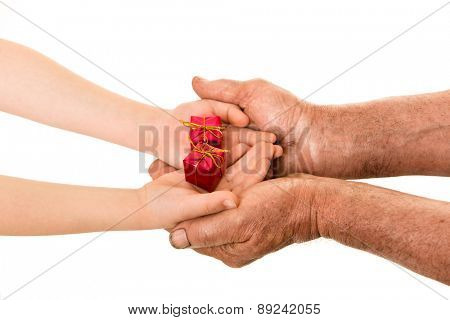 child and old man hands with gift box