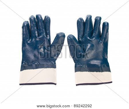 Close up of blue rubber gloves.