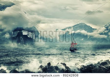 Mystical landscape with peaks of mountains and the sea.