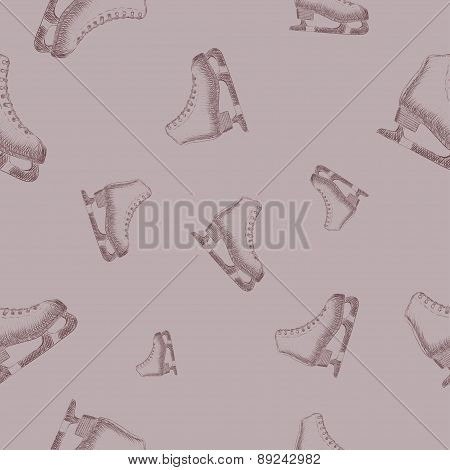 Seamless pattern with sketch skates