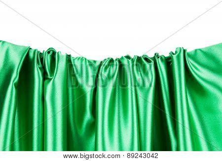 Green silk texture. Close up.