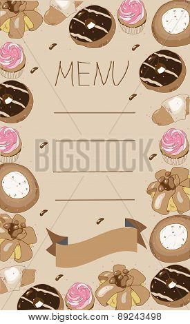 background menu with pastries, cake, doughnut,muffin