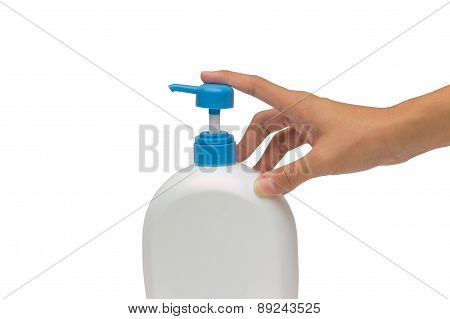 Holding Or Pump Gel, Foam Or Liquid Bottle Isolated Over White Background