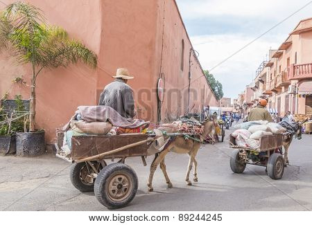 MARRAKESH, MOROCCO, APRIL 3, 2015: Donkey powered carts in old Jewish quarter