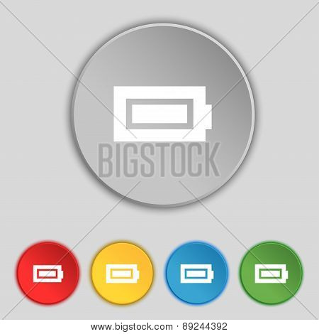 Battery Fully Charged Icon Sign. Symbol On Five Flat Buttons. Vector