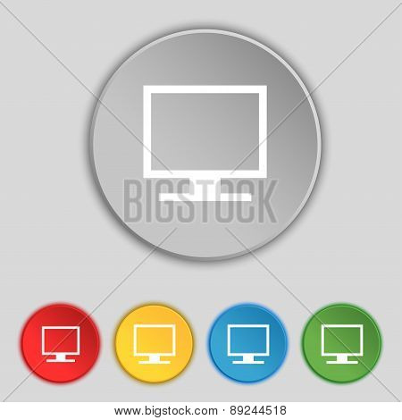 Computer Widescreen Monitor Icon Sign. Symbol On Five Flat Buttons. Vector