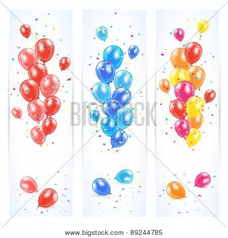 Three Banners With Colorful Balloons
