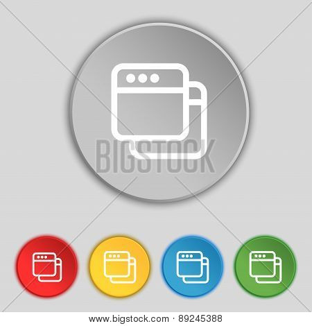 Simple Browser Window Icon Sign. Symbol On Five Flat Buttons. Vector