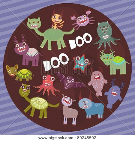 Funny frightening monsters on purple striped background party card design. Vector