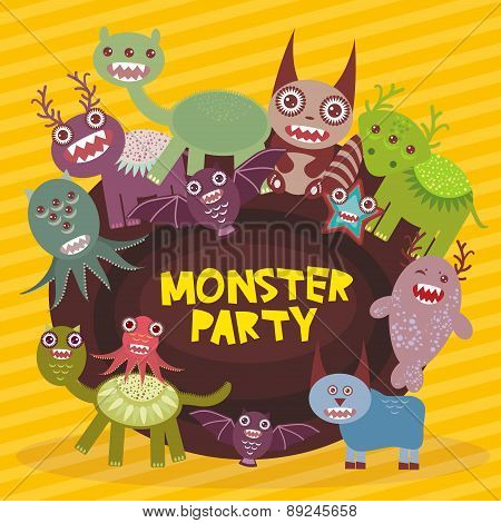 Funny monsters party card design on yellow striped background. Vector