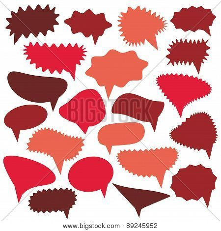 Blank Empty red Speech bubbles set on white background for your design. Vector