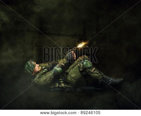 Military Man Soldier Shooting  Of Handgun
