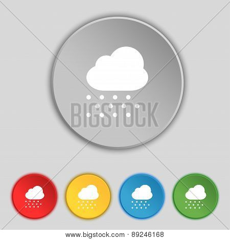 Snowing Icon Sign. Symbol On Five Flat Buttons. Vector