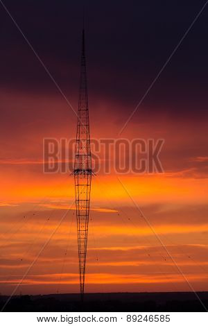 Radio Tower With Sky Background.