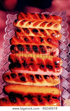 grilled beef pork sauseges with marks
