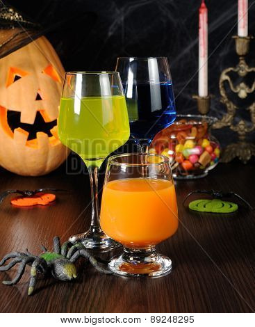 A Variety Of Juices And Drinks For Halloween