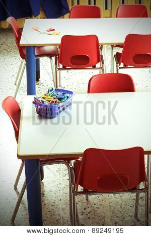 Classroom With Red Chairs In The Kindergarten