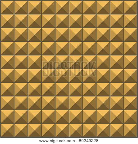 Wall With Yellow Brown Pyramid Tiles Pattern