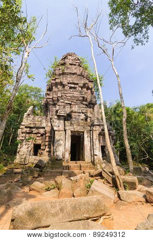 Hindu sanctuary situated name Ta Krabey stone castle