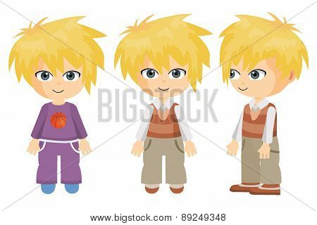 Boy front and side with blond hair