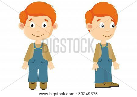 Redhaired boy front and side with overalls