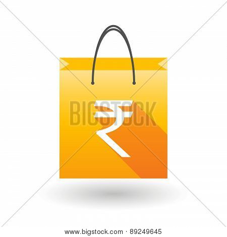 Yellow Shopping Bag Icon With A Rupee Sign