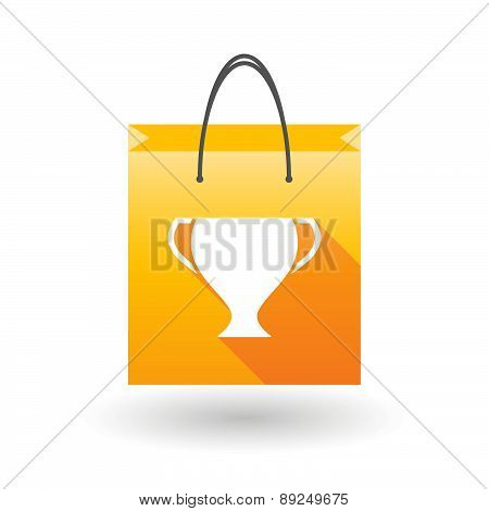 Yellow Shopping Bag Icon With An Award Cup