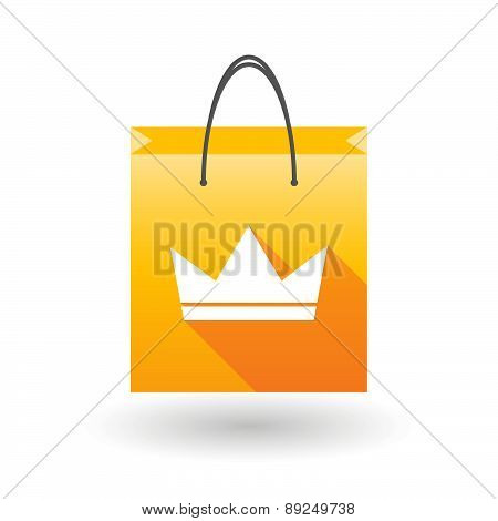 Yellow Shopping Bag Icon With A Crown