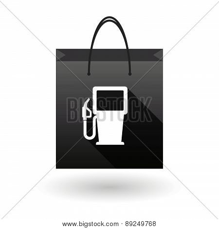 Black Shopping Bag Icon With A Gas Starion