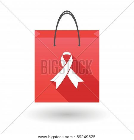 Red Shopping Bag Icon With A Social Awareness Ribbon
