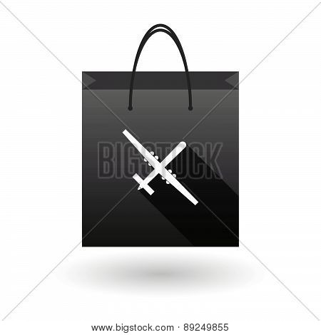 Black Shopping Bag Icon With A War Drone
