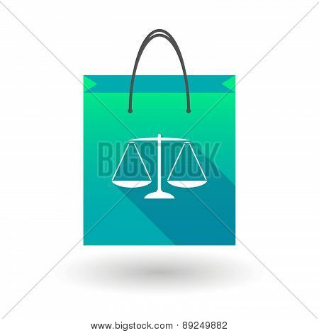 Blue Shopping Bag Icon With A Weight Scale