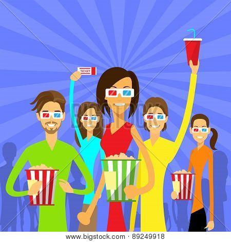 People Group Watching Movie in Cinema 3d Glasses