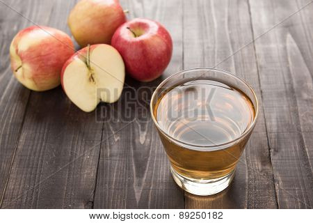 Healthy Apple Juice Drink And Red Apples Fruits On Wooden Background