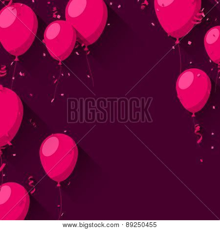 Celebration magenta background with flat balloons and confetti. Vector illustration.