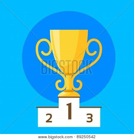 Winner Cup First Place Flat Design Vector Illustration