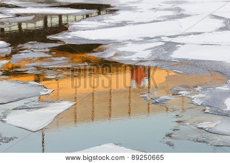 Reflections In Winter Water Among The Ice Floes