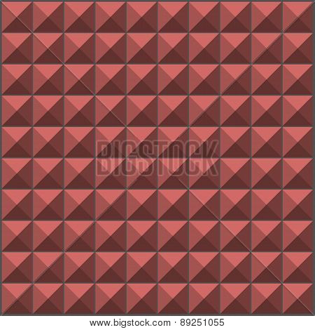 Wall With Pink Orange Pyramid Tiles Pattern