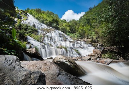 Beautiful Waterfall And Green Forest Resting Place