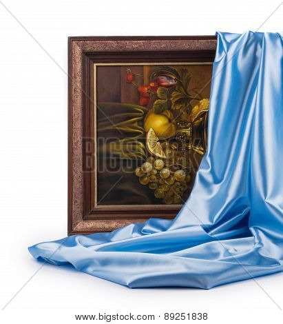 Wooden frame with blue silk.