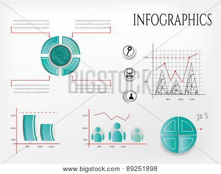 Set, collection of modern, isolated blue pie charts, diagrams, graphs - with pattern, black icons fo