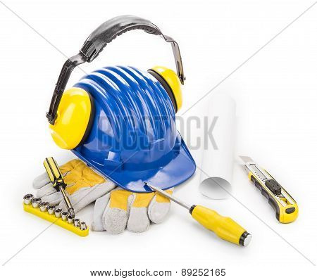 Blue helmet and working tools.