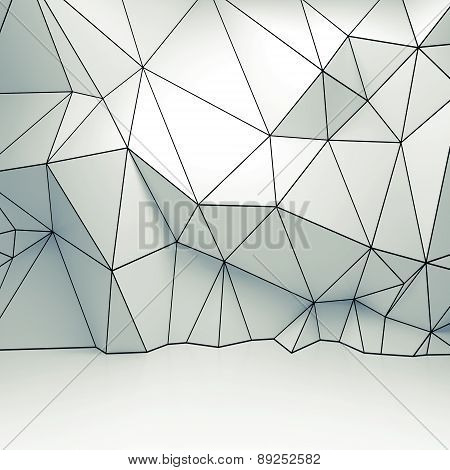 Polygonal 3D Wireframe Relief Pattern On The Wall