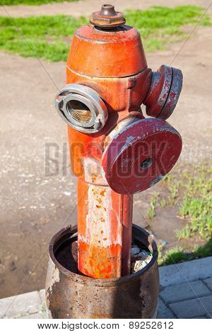 Red Fire Hydrant, Close Up Vertical Photo